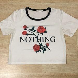 Tops - White rose Nothing Crop Top